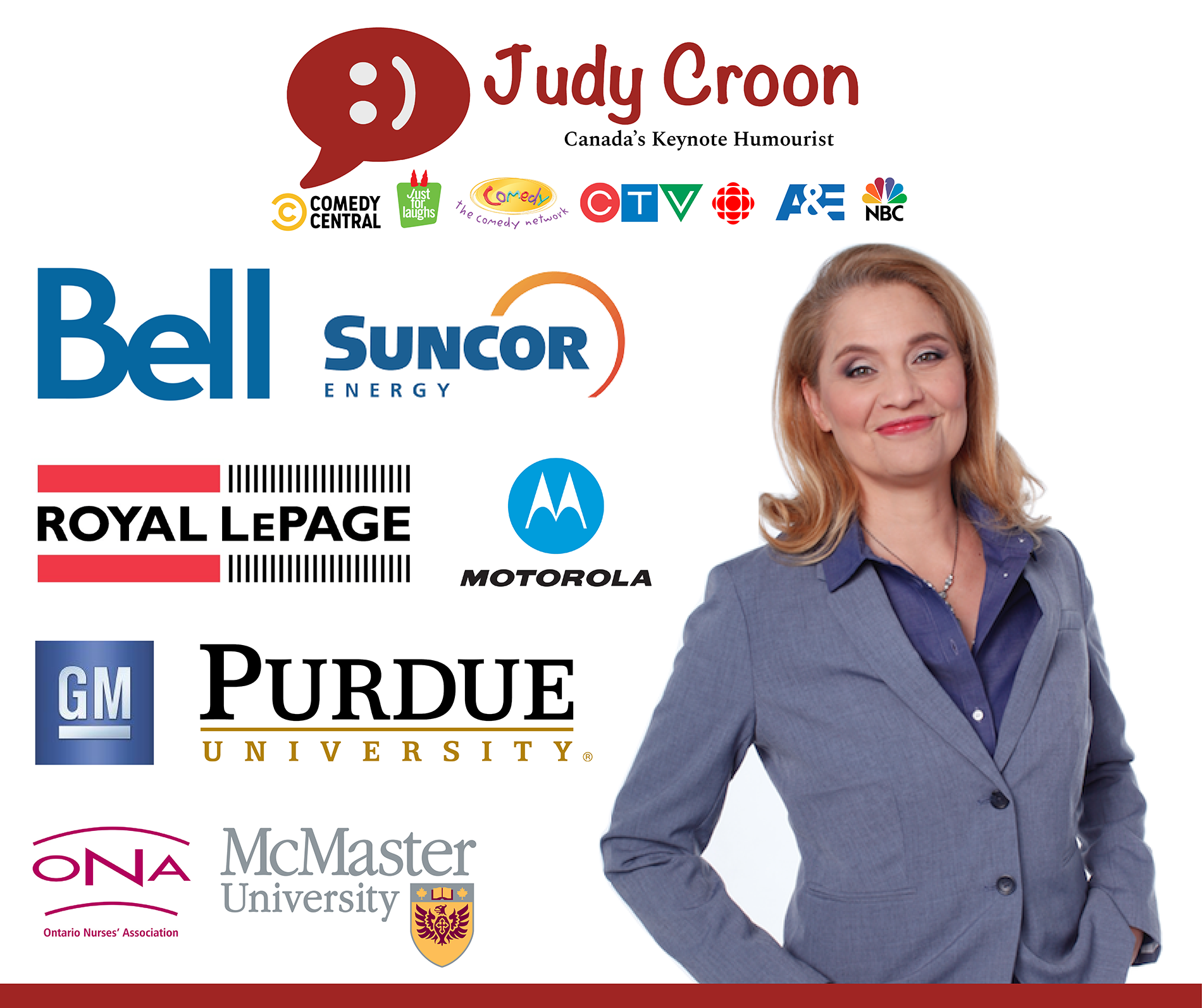 judy Croon Canada's Keynote Humourist w client logos