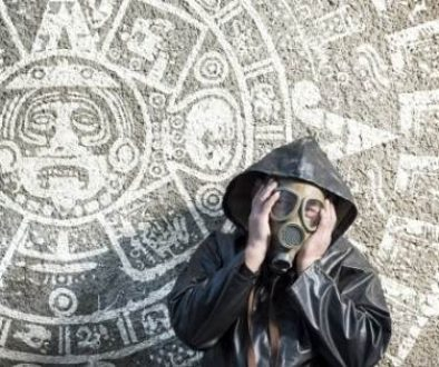Is the world going to end? person in gas mask in front of Mayan calendar