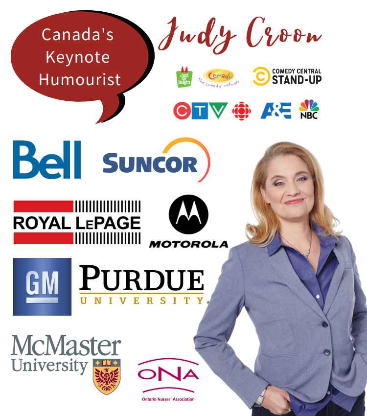Judy-CROON-canada's keynote humourist with client logos