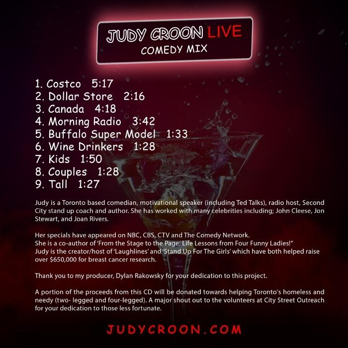 Judy Croon Comedy Mix Live Back cover